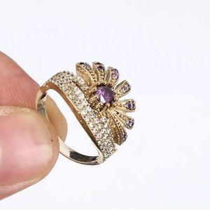 Sultan Ottoman Crown Amethyst Topaz Silver Ring